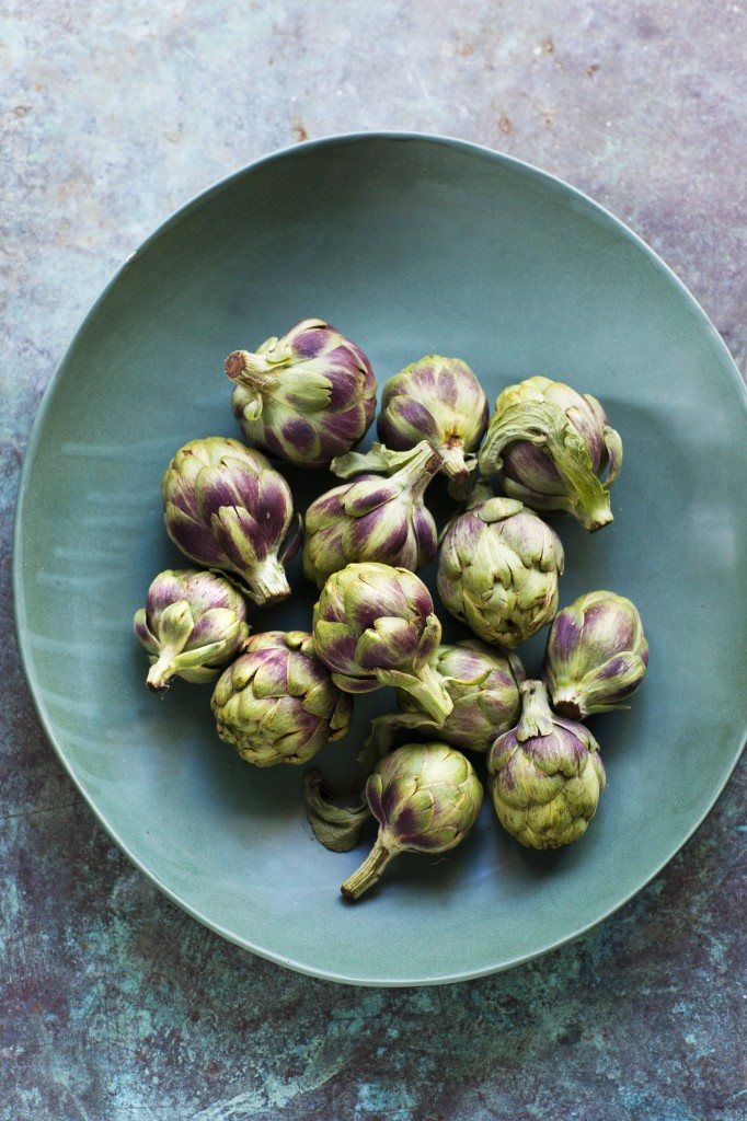 Baby Artichokes In Blue Bowl